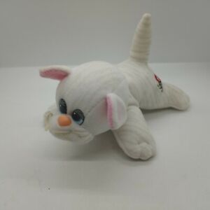 """Vintage Tonka Pound Puppy Purries Kitty Cat White With Gray Striped Cat 8"""" Plush"""