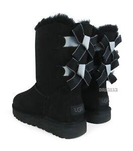 UGG Bailey Bow II Shimmer Black Suede Fur Boots Womens Size 8 ~NIB~