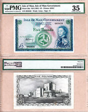 """PMG CH VF35 (aEF) 1961 Five Pounds """"Isle of Man of Man Government"""" QE2 Portrait"""