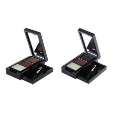 2 Color Pro Eye Shadow Eye Brow Makeup Eyebrow Powder +Eyebrow Wax Brush Palette