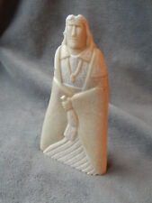 "American Indian hand carved stone by D. Pettigrew, 1992, ""Medicine Man"", 7"" tall"