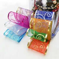 CG_ BL_ New Glitter Christmas Bow Wreath Wrap Wedding Wired Ribbon Party Home De
