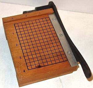 VINTAGE Small MINIATURE WOOD and CAST IRON Manual PAPER CUTTER~MADE in JAPAN!