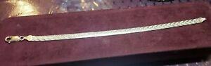 "Sterling Silver Diamond Cut Herringbone Bracelet 7 1/2"" Made in Italy"