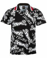 Le Tigre Men's Dumont Short Sleeve Polo Shirt Size Large Black White Logo NEW