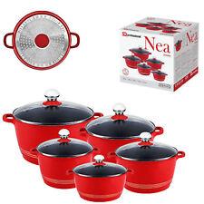 SQ Pro Nea Induction Red rossa  5pc NonStick Ceramic Aluminium Die-Cast Casserol