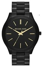 New Michael Kors Ladies Watch Slim Runway Black Ion Plate Steel Gold Trim MK3221