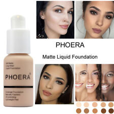 TWIN PACK - Phoera Matte Skin Foundation Full Coverage Face Makeup Concealer UK