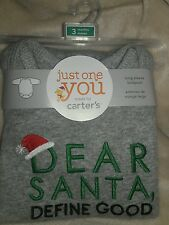 NIP Carter's Just One Dear Santa Define Good Long Sleeve Bodysuit Size 3 Month