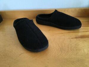 HAFLINGER Men's Pure Black Wool Slipper Shoes Men's Size 42 Indoor / Outdoor EUC