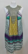 DERHY Ladies Multicolour Print Crystal Embellished Sleeveless Dress Size S