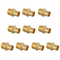 "10 PCS 3/4"" PEX X 1/2"" MALE NPT THREADED ADAPTER BRASS CRIMP FITTING LEAD FREE"
