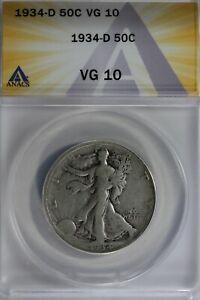 1934-D  50C ANACS VG10  Walking Liberty, Lady Liberty Half, 0.50