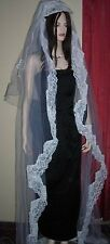 Vintage1940s-50s Wedding Chantilly Lace Tulle Cathedral Double Veil & Headpiece