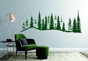 Forest Pine Trees Mountain Nature Landscape Wall Sticker Vinyl Art Christmas