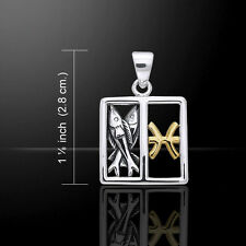 Pisces Zodiac Symbol .925 Sterling Silver Pendant 14k Gold Accents Peter Stone