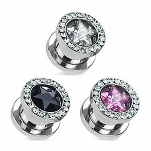 Flesh Tunnel Screw Tunnel Plug Silver Stainless Steel Zirconia Crystal Star