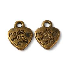 BULK Charms Made with Love Word Charms Bronze Jewelry Tags Wholesale Charms 50p
