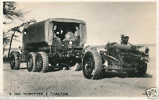 Original postcard RP military 6 in howitzer & tractor WWII Valentines (A3)