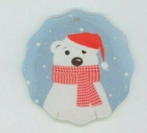 Cute Polar Bear -  Porcelain Christmas Ornament - Double Sided