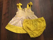Size newborn white/yellow POLKA DOT print SHIRT AND BLOOMERS set by FADED GLORY
