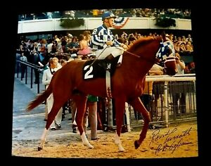 SECRETARIAT GREAT 8 x 10 PHOTO BELMONT STAKES HORSE RACING Ron Turcotte Signed