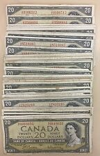 1954 Bank of Canada $20 - Lot of 50 Banknotes