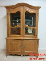 Ethan Allen French Country Breakfront China Cabinet Display Hutch