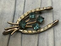Vintage Wishbone Brooch Lucky Luck Gold Tone Pin Blue & Clear Glass Rhinestones