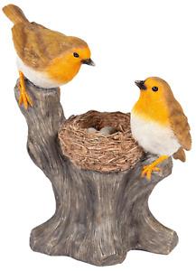 Robin Garden Ornament Resin Robins With Bird Nest Home Decor Lifelike Figurine