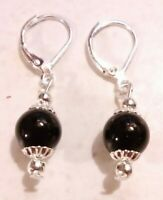 Black Onyx (8mm) & 925 Sterling Silver Lever Back Earrings