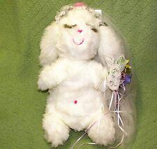 "15"" Vintage MS NOAH Bunny Bride White Rabbit Veil Flower Bouquet Eyelashes PLUSH"