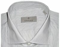 $345 NEW CANALI WHITE w SOFT BLACK STRIPE DRESS SHIRT MADE IN ITALY EU 46 18
