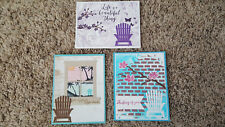 New listing 3 Handmade Stampin' Up Greeting Cards Colorful Seasons, Waterfront, Hearth
