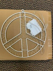 """NEW Pottery Barn Lit Light Up Sentiment PEACE Sign Round 10"""" Hanging Battery"""