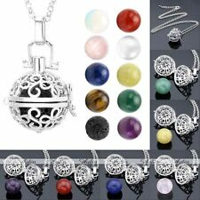 Silver Locket Pendant Fragrance Diffuser Chain Necklace With Natural Gem Stone