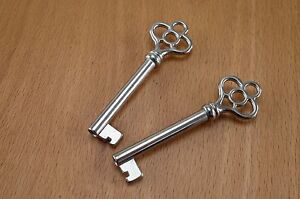 2X Vtg Style Open Barrel Skeleton Key Furniture Cabinet Wedding Pendants Charms