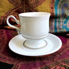 Denby Langley Alsace White Cup and Saucer Footed Beaded Taupe Band