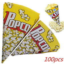 100pcs Cone Popcorn Paper Pack Bags Container Movie Party Cookie Supply Bags UK