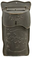 MAILBOX FARMHOUSE Style Aged Black Metal Post Box Vintage Embossed House Mailbox