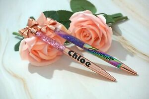 Beautiful Personalised New Glitter Bow Rose Gold or Multi Coloured Pen