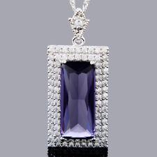 Schmuck Rectangular Cut 18K White Gold Plated Purple Amethyst Pendant Free Chain