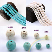 20 - 100pcs Howlite Turquoise Gemstone Round Loose Beads Jewelry 4 6 8 10 mm