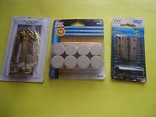 3 PC Home Improvement Chain Door Guard Solid Brass; Hinges Bisagras & Felt Pads