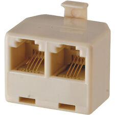 RJ11 GE 76104 Duplex In Wall Jack T-Adapter (Almond) 4 Conductor Splitter New!