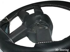 FOR MERCEDES ACTROS NEW REAL BLACK LEATHER STEERING WHEEL COVER 2012+ WHITE ST