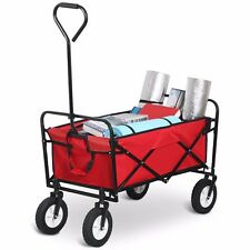 Heavy Duty Folding Garden Trolley Cart Wagon Truck 4 Wheel Transport Wheelbarrow