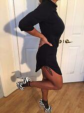 Connie's 3/4 Sleeve Black Mock Neck Mini Dress With Zip Closure XL