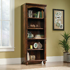 Cherry Finish 5 Shelf Library Bookcase Furniture Home Living Study Display Den