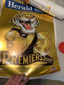 2019 Richmond Tigers Gold Foil Mark Knight Premiership Poster Limited Edition